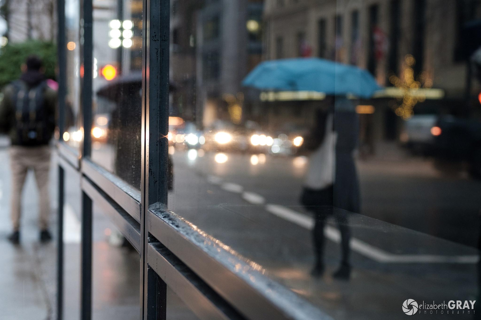 Blue Umbrella Reflections