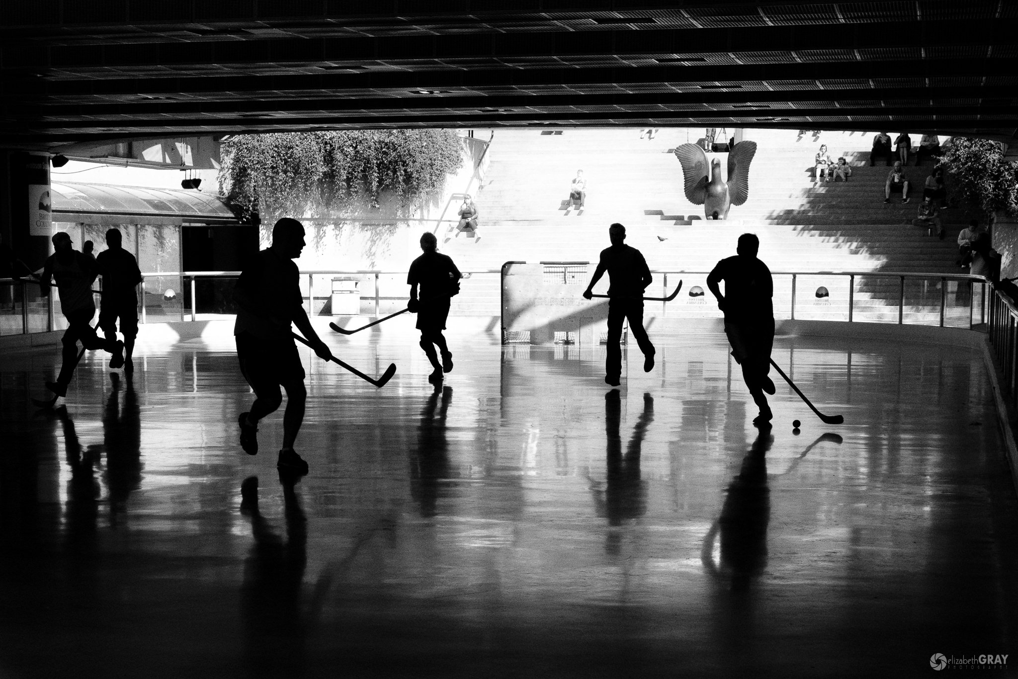 Ball Hockey Silhouettes - Sometimes it takes several shots to avoid merging subjects.