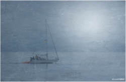 Foggy Morning Sailboat