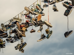 Old Shoes Hanging on a Wire